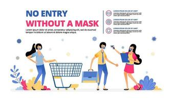 illustration of mandatory warning to wear mask at shopping and working vector