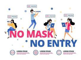 warning for people in outdoor activities must wear masks vector