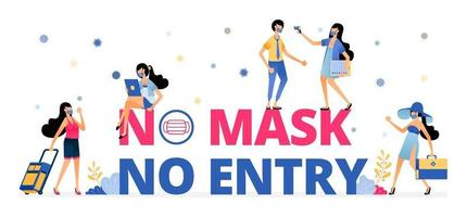 mandatory warning sign to wear a mask while on vacation or traveling vector