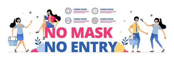 mandatory warning sign to wear mask at outdoor activities or meeting vector