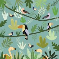 cute bird in botanical tropical forest pattern. vector