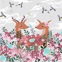 A deer couple in pink flower garden. vector