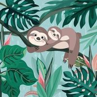 Cute baby and mom sloth in green forest. vector