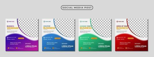 Collection of social media post banner template design vector