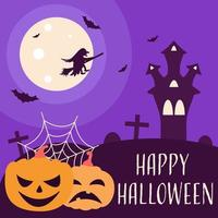 Witch on the background of the moon, bats, castle and pumpkins vector
