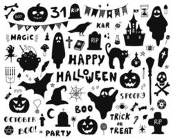 Set of silhouettes for Halloween on a white background vector