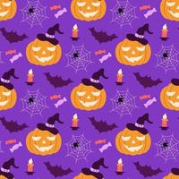 Pumpkin in a hat with cobwebs, bats and sweets vector