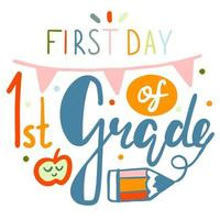 primer día de caligrafía de letras de primer grado sobre fondo blanco vector