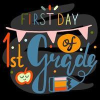 primer día de caligrafía de letras de primer grado en pizarra negra vector