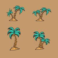coconut tree set vector