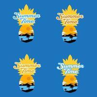 Letras de horario de verano con ilustración de vector de piña