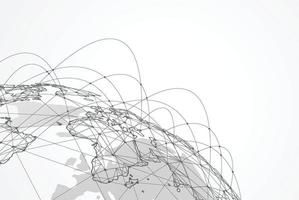 Global network connection. World map point and line composition vector