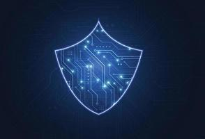 Cybersecurity shield and information or network protection. vector