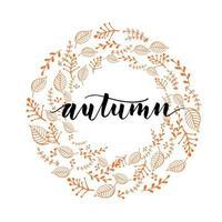 Autumn lettering calligraphy phrase - Autumn. Invitation Card vector