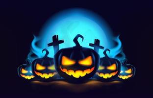Halloween pumpkins with smoke, night moon and graves in 3d style. vector