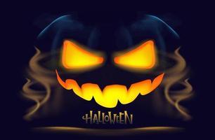 Halloween pumpkin with burning eyes and mystical fog. vector