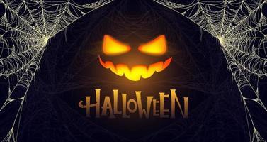 Halloween banner with glowing pumpkin. Cobweb vector