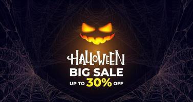 Halloween big sale banner. Glowing pumpkin. vector