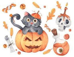 Happy Halloween collection. Watercolor illustration. vector
