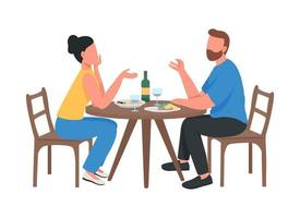 Couple at romantic dinner semi flat color vector characters