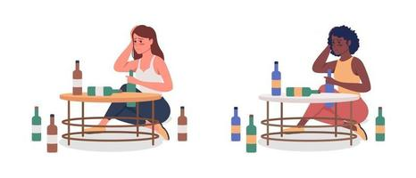 Woman with alcoholism semi flat color vector character set