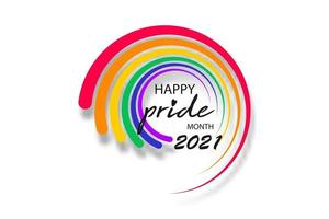 Pride month 2021 logo with rainbow flag. Banner Pride symbol vector