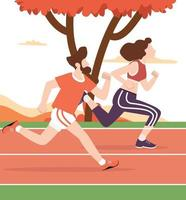 Young man and woman attractive running in racetrack vector