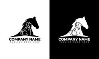 Vector of a Horse, Dog, Cat logo design Animals graphic illustration