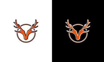 Deer antler icon logo, Deer horn head vector graphic illustration