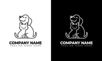 Vector of a Dog and Cat logo design Animals graphic illustration
