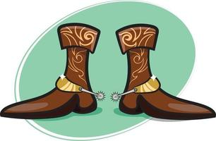 Stylish Cowboy Boots with Spurs vector