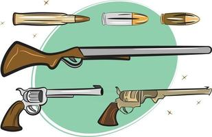 Pack of Guns Pistols and Bullets vector