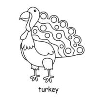 children coloring on the theme of animal vector, turkey vector