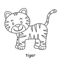 children coloring on the theme of animal vector, tiger vector