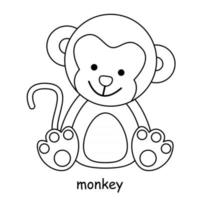 children coloring on the theme of animal vector, monkey vector