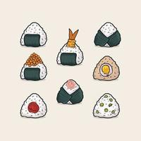 set of onigiri japanese rice ball various taste. Vector illustration