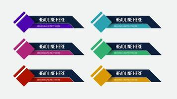 Graphic set of Broadcast News Lower Thirds Banner vector