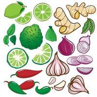 conjunto de verduras, limón, cebolla, ajo, guindilla, bergamota, jengibre vector