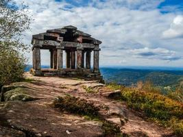 Monument on the Donon mountain peak in the Vosges, France photo