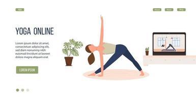 Online yoga practice. Banner design. illustration, eps 10 vector