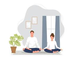 A couple meditating in lotus pose at home. Yoga practice at home vector