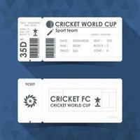 Cricket ticket card design. Vector illustration