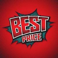Best Price. Comic Speech Bubble. Vector illustration