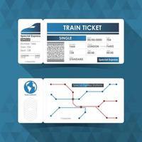 Train Ticket Card. Element Design with Blue Color. Vector illustration