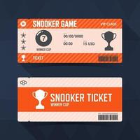 Snooker, ticket design guidelines. vector illustration