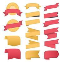 Ribbons and labels flat design. Vector illustration
