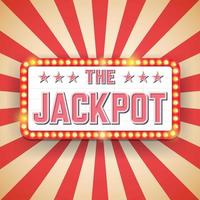 Jackpot billboard. Electric bulbs. Retro light frames vector