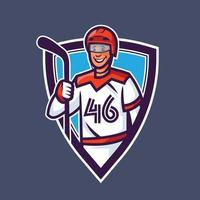 Hockey player holding stick. Sport concept art in cartoon style. vector