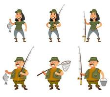 Fisherman and female angler in different poses. vector