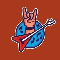 Symbol of rock'n'roll. Concept art of rock music in cartoon style. vector